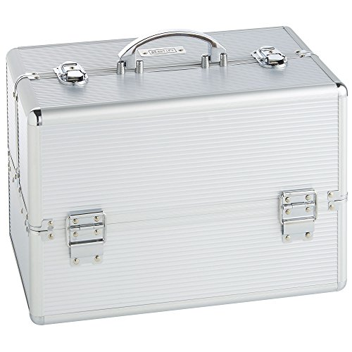 Beautify Professional Large Elegant Silver Aluminium 8 compartment Beauty Box Cosmetics & Make Up Case