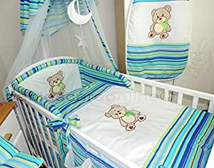 STUNNING 6 pcs BABY BEDDING SET/BUMPER/quilt/sheet to fit Cot Bed (140x70cm)