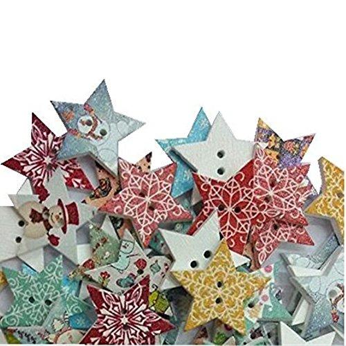 Hangood 50 Piezas Botones De Madera 2 Agujeros Para Coserlas Manualidades Estrella mezclada de la Navidad 20mm