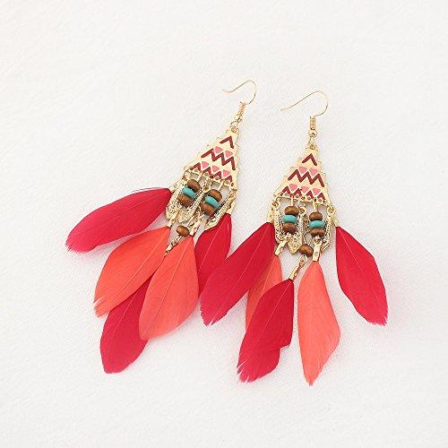 Fengjingyuan's Jewelry Damen Ohrringe, Vintage Pyramide Feder Quaste Ohrringe, Böhmischen Ethnischen Zubehör Ohrringe, Für Den Täglichen Casual Schmuck,Red