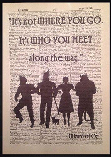 Der Zauberer von Oz Kunstdruck, Motiv: Vintage-Wörterbuch, Dorothy, Blechmann, mit englischsprachigem Zitat (Der Zauberer Von Oz Tin)