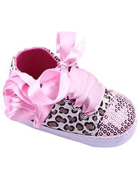 Baby Mädchen Paillette Leopard Schnüren Blume weiche Sohle Sport Sneaker Krippe Schuhe