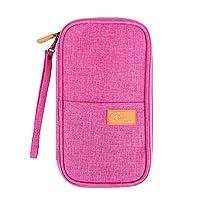 Tuscall Reiseorganizer Mappe Passport Brieftasche Reisedokumente Abdeckung Kreditkarten Halter Bargeldvorrat Veranstalter Aufbewahrungstasche mit Reißverschluss-Fächern (Pink)
