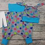 Baby Set Babyhose Mitwachshose Mütze Babyset Pumphose Hose Punkte bunt