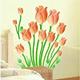 #2: UberLyfe Gorgeous Orange Tulips Wall Sticker (Wall Covering Area: 70cm x 60cm) - WS-001010