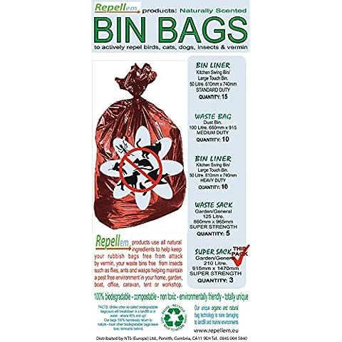 repellem Super bolsas–Repelente de fuerte y biodegradable jardín–bolsas de basura