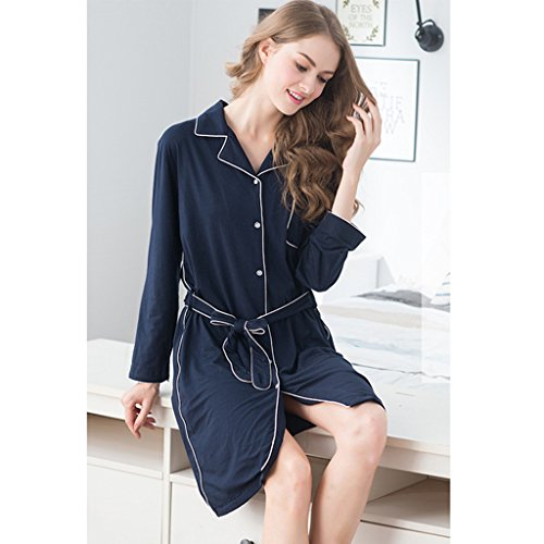 GWELL Damen Modal Nachthemd Nachtkleid Langarm Sleepshirt Lang Hemd Winter Herbst Pyjama Blau