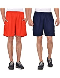 Pack Of 2 Knee Length Shorts (Navy Blue And Red)