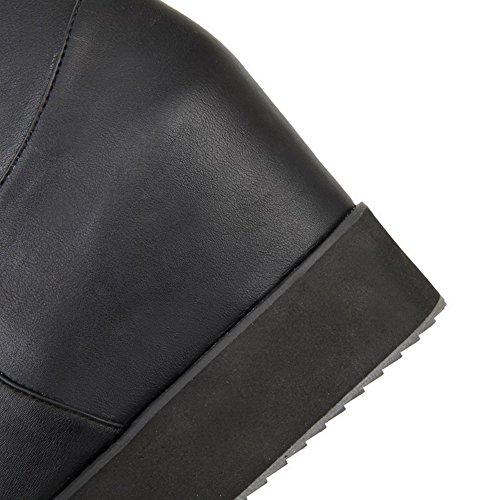 VogueZone009 Femme à Talon Haut Haut Élevé Couleur Unie Tire Bottes Noir