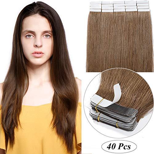Extension capelli veri adesive tape in hair con biadesivo 40 fasce/set 80g 100% remy human hair lisci naturali 2g/ciocca (35cm, 6 castano chiaro)
