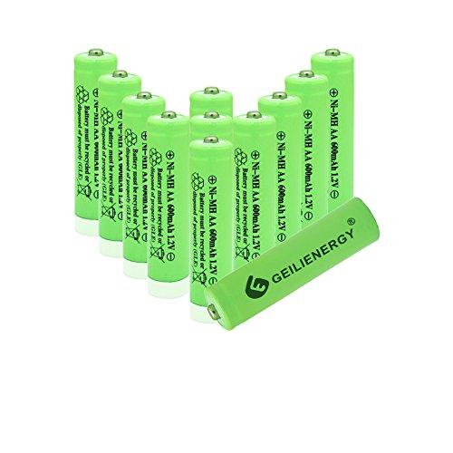 Geilienergy Solar Light AA Ni-MH 600mAh Rechargable Batteries (Pack Of 12)
