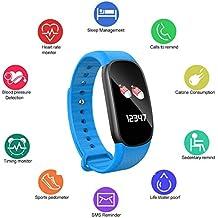 Moneil - Reloj inteligente con monitor de actividad deportiva y deportiva, pantalla colorida, resistente al agua, Bluetooth, silicona, con monitor de sueño, contador de actividad deportiva de calorías, monitor de presión arterial, monitor de ritmo cardíaco, etc. para Android y iOS, azul