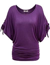 DJT T-shirt hauts Extensible Manche Chauve-souris Blouse Femme