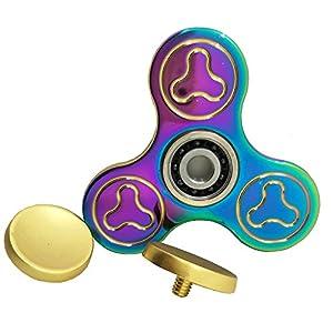 Hand Spinner Spielzeug - Regenbogen Metall Schnelle Geschwindigkeit Tri-Spinner Fidget Spielzeug für Stress und Angst Relief - EDC Office Spielzeug
