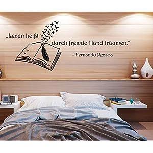Wandtattoo/Wandsticker/Wandaufkleber ***Lesen heißt, durch fremde Hand träumen*** – (Größen und Farbauswahl)