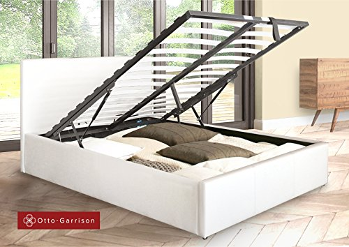 Ottoman Double Storage Bed Upholstered in Faux Leather, 4ft 6, White