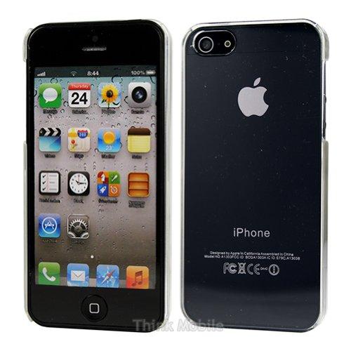 Apple iPhone 5 / 5s Etui Coque - Housse Etui Portefeuille Pu Cuir Rouge Pour Le Apple iPhone 5 5S - thinkmobile Transparent Clair
