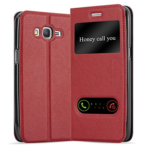 Cadorabo Hülle für Samsung Galaxy Grand Prime - Hülle in Safran ROT – Handyhülle im Standfunktion und 2 Fenstern (View Design) - Case Cover Schutzhülle Etui Tasche Book Klapp Style