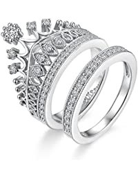 Yellow Chimes Luxury Crown 2 Pcs Collection Silver Plated and Cubic Zirconia Ring for Women (Silver)(YCFJRG-R39CRN-SL)