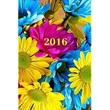 2016: Kalender/Terminplaner: 1 Woche auf 2 Seiten, Format ca. A5, Cover Blumen
