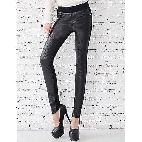ZY/ casuale vita bassa cuciture elastiche delle donne magro con i jeans di velluto , black-l , black-l