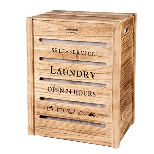Enrico coveri contemporary set cesto portabiancheria in legno robusto e resistente, con sacco interno removibile, stile moderno/shabby (beige grande)
