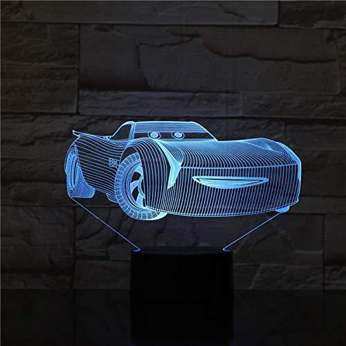 Mcqueen Route 66 Ihr Rennwagen 3D Nachtlicht Led Nachttischlampe 7 Farben Stimmungslicht Touch Sensor Mit Smart Touch Button Nettes Geschenk Erwärmung Präsentieren Kreative Dekoration Ideal Kunst Und