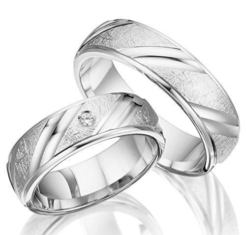 2 x Trauringe 925 Silber PAARPREIS AG.32 inkl. Swarovski Crystal und Gravur Verlobungsringe Günstige Eheringe aus echtem Silber Sterling Juwelier Made in Germany Massiv Silver Rings Express Lieferung