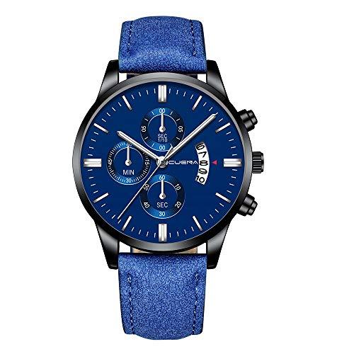 LYRICS Herren Geschäfts Armbanduhr Analog Display Quarz Uhren Mit Premium Lederband Stilvolle Blu-ray Glas Design Uhr Datumsanzeige Runde Zifferblatt Dornschließe Watch -