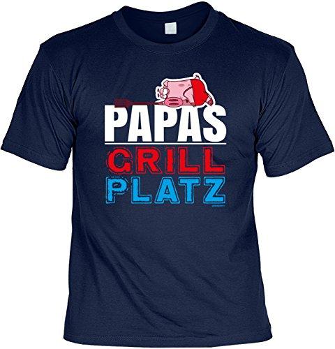 Familien/Grill/Spaß-Shirt/Fun-Shirt/Rubrik lustige Sprüche: Papas Grill Platz - geniales Geschenk Navyblau