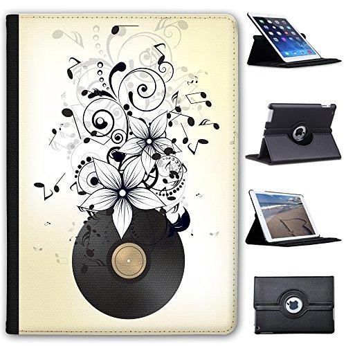 Fancy A Snuggle Alte Vinyl-LP mit Noten & Blumen Case Cover/Folio aus Kunstleder für Das Apple iPad AIR 2 (2nd Generation) - 2. Blumen Cases Generation Ipad