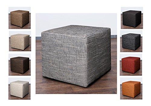 Möbelbär 8009 Sitzwürfel Hocker Cube mit Kunststoffgleiter Fuß 45 x 45 x 45 cm, bezogen mit robustem hochwertigem Magma Struktur Webstoff(Dunkelgrau)
