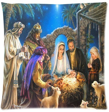 KAKICSA Elegant Comfort Luxurious Silky Soft Christmas Nativity Holy Family, Tree-Three Wisemen Christmas Zippered Pillow Case 18x18 inch (one Side) - Set Christmas Nativity Tree