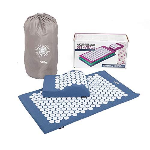 Akupressur-Set VITAL: Akupressur-Matte (74 x 44cm) & Kissen im günstigen Set, vitalisierende Matte für den Rücken und für den Nacken, wohltuende Entspannungsmatte & Kissen (blau)