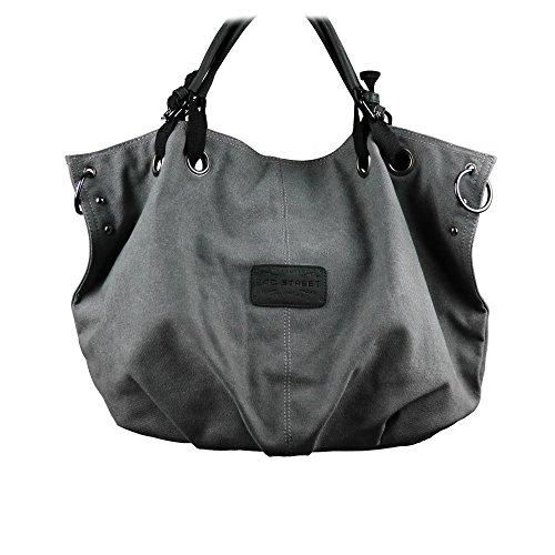 Canvas Tasche Shopper Umhängetasche Damentasche Handtasche aus Baumwollstoff Bag Street - präsentiert von becoda24 in versch. Farben (Grau)