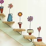 Vktech- Pegatinas pared decorativas infantil Con el Estilo del Mural Maceta Flor y Mariposa para decoración la sala , Sala de Juegos