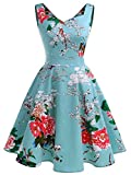 IVNIS RS90031 Damen 50er Vintage Kleid Retro A-Linie Ärmellos Rockabilly Floral Abendkleider mit Taschen Grüne Blumen 2XL