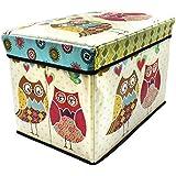 Sterling Foldable Ottoman Storage Box Cum Stool - Owl Print Pattern Foldable Stool (Size 30 x 31 x 48 cm)