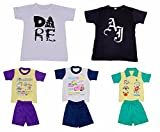 IndiWeaves Boys Round Neck Cotton T-shirt And Pure Cotton Baba Suit ( (Pack of 2 T-shirt And Pack of 3 BaBa Suit )-(Assorted Color/Print )-Multicolor-