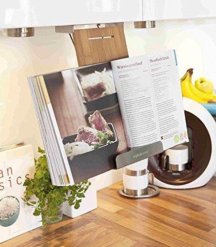 Kochbuchhalter Buchhalterung hängend Bambus / Edelstahl 32x16x6 cm Küchenhilfe - Für Rezept-halter Ipad