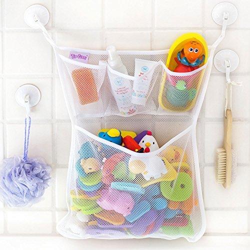 OMZGXGOD - Bad Organizer für Badewannenspielzeug,Badespielzeug Aufbewahrung mit Mehreren Taschen ,Badespielzeug Lagerung , Spielzeugnetz mit 4 Selbstklebend Haken -
