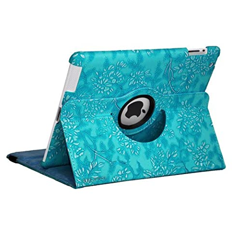 Turquoise Blue Apple iPad 2-3-4 Luxury Floral Petal Smart PU Leather Case Rotating 360 Funky Cover Travel Stand with Auto Sleep-Wake | Includes Free Screen Protector & New Stylus Pen | Professional Cases and Covers with Accessories for iPad 2-3-4 by