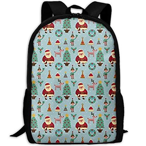 Santa Elf Rentier Weihnachtsbaum Stilvolle Laptop Rucksack Schulrucksack Bookbags College Taschen Daypack -