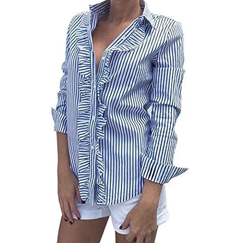 WOCACHI Damen Frühling und Herbst Blusen Mode Frauen Langarm Gestreifte bedruckte Rüschen Dekoration einfach Stil Blau Bluse Tops Shirt Langarmshirts (XL/38, (Einfache Katzen-kostüm Für Arbeit)