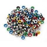 Wadoy 200 Metall bunte runde Ösen/Eyelets/Nieten gemischte Farben 9mm