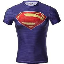 Cody Lundin hombre Maneja de compresión de jog aptitud movimiento de superhéroe camisetas manga corta