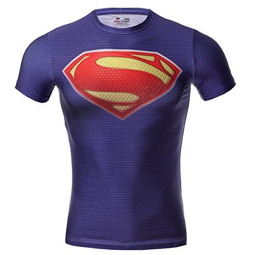 Cody Lundin Super Héros Homme Compression T-shirt Mouvement Collant Vêtement Fitness Chemise (Violet, XL)