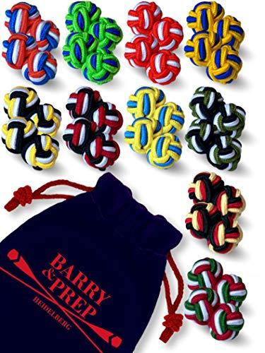 (10 Paare runde Seidenknoten Manschettenknöpfe im Set zu Hemd oder Bluse für Herren & Damen | zweifarbig & dreifarbig in rot, blau, grün, gelb, orange)