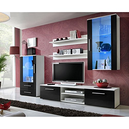 Paris Prix - Ensemble Meuble TV Design galino VIII 250cm Blanc & Noir