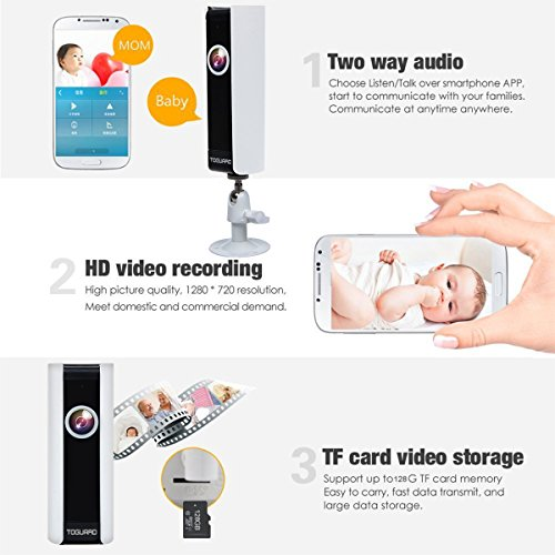 Toguard mini HD Wifi Video Surveillance Camera family home little one Monitor IP Camera by wil of  185 Panorama View Fisheye Lens Night Vision Real time Intercom Motion Detection remote control Monitoring Cylinder Bullet Cameras